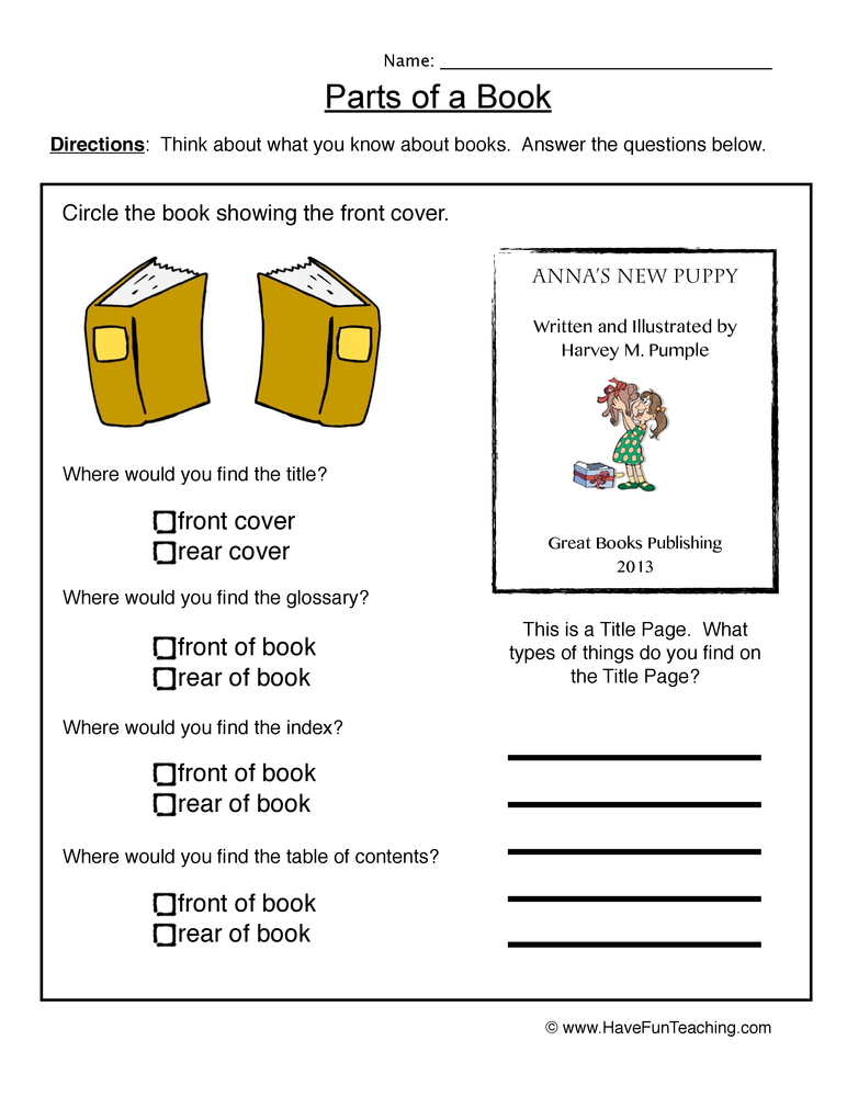 Book Cover Printable Questions ~ Book parts worksheet