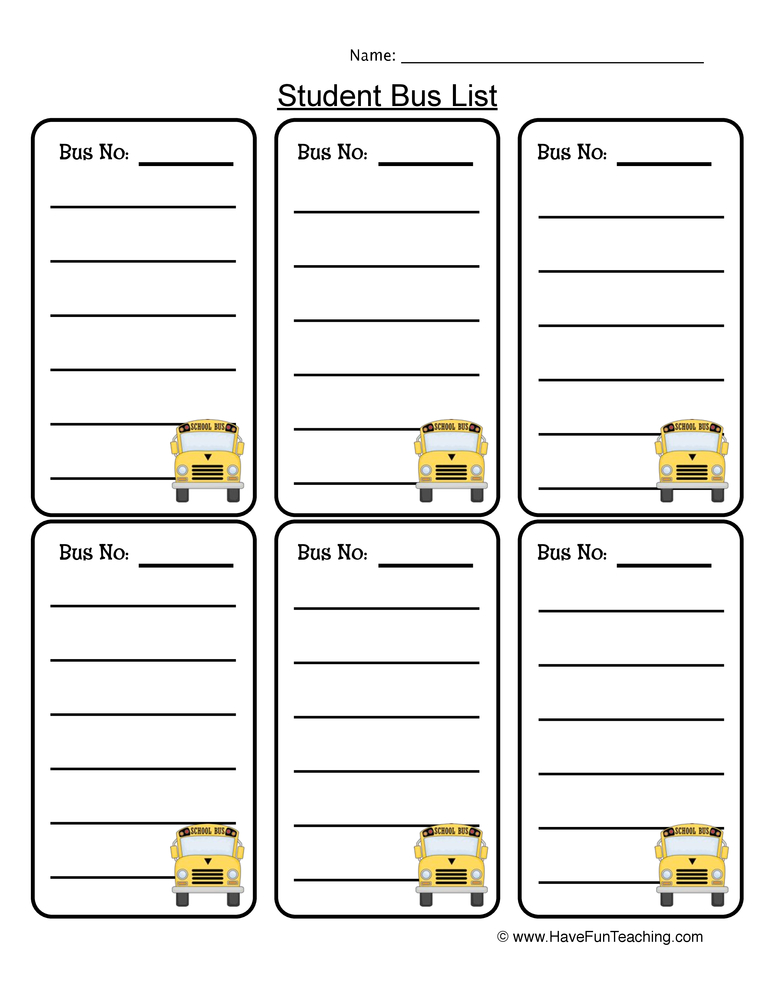 bus list worksheet