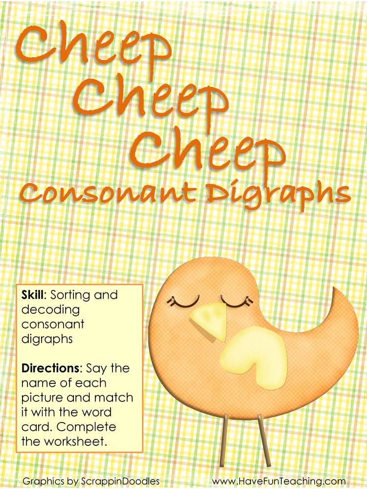 cheep cheep cheep consonant digraphs activity