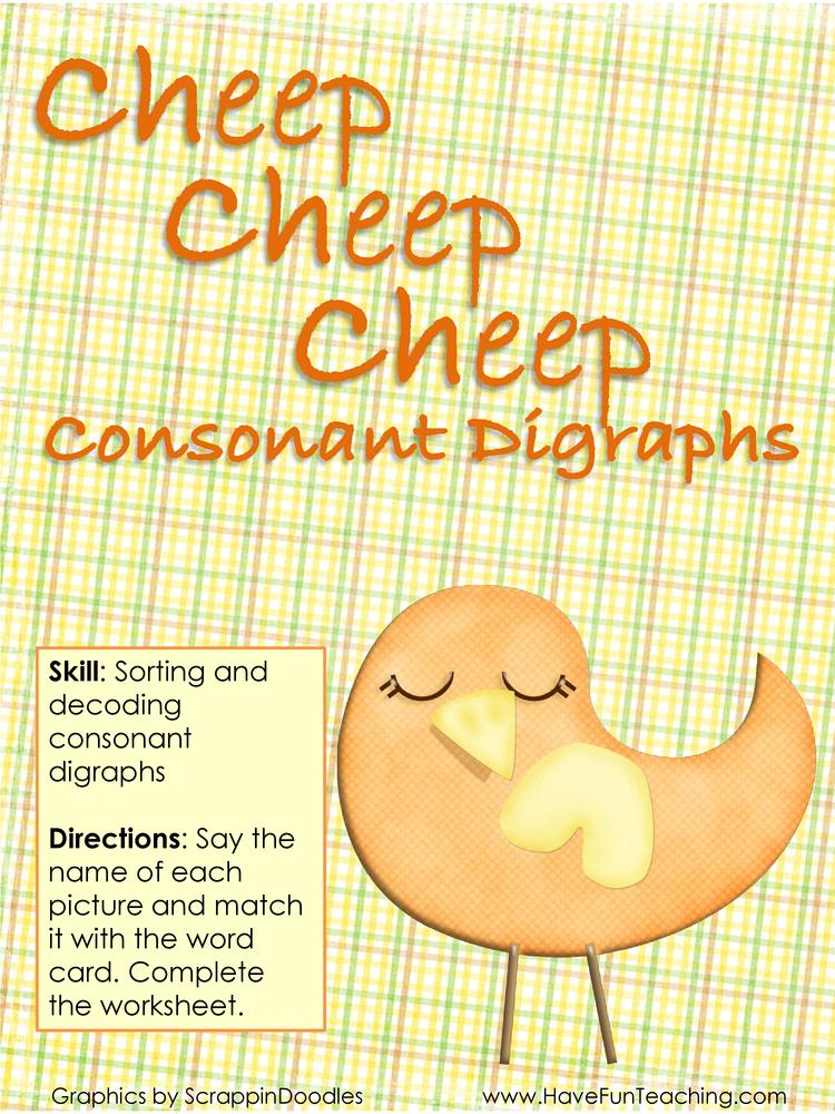 Cheep Cheep Cheep Consonant Digraphs Activity