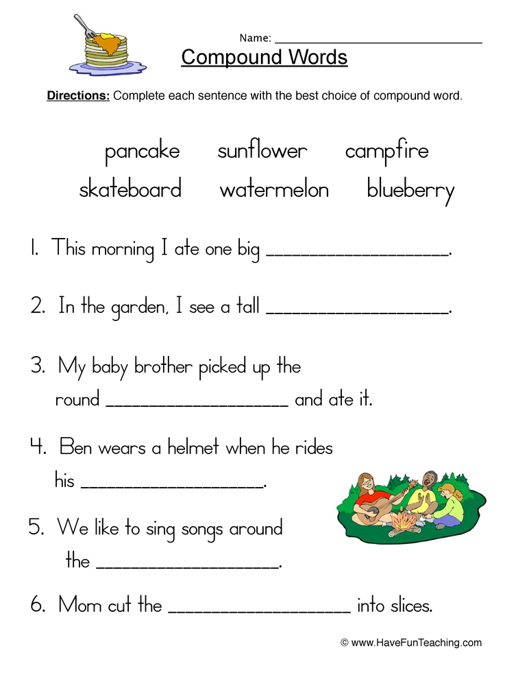 Compound Words Worksheets : Have Fun Teaching