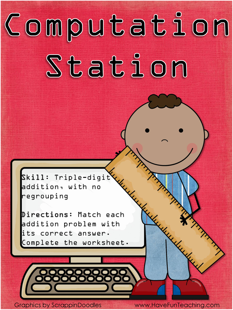 computation station triple digit addition activity