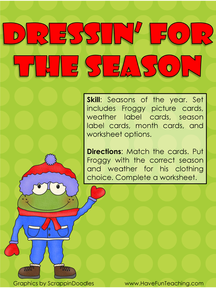 Dressin For the Season Seasons Activity