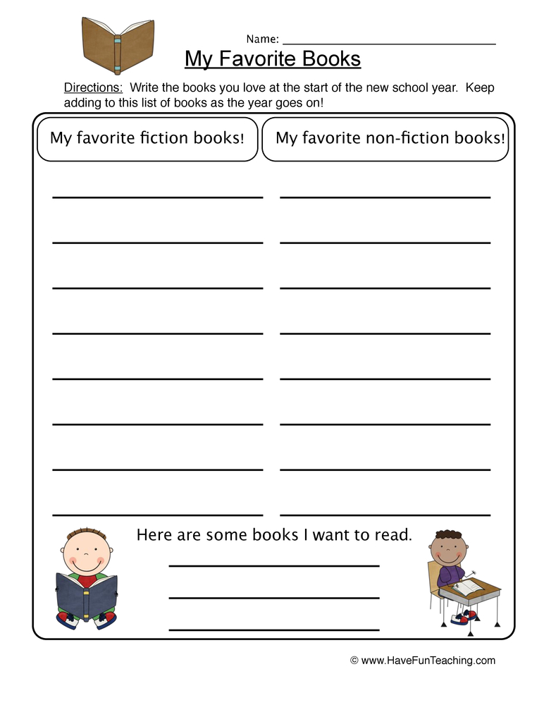 favorite books worksheet 2