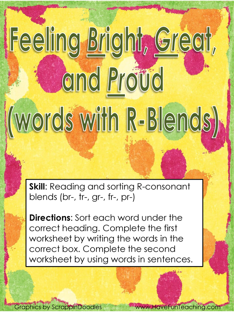 feeling bright great and proud r consonant blends activity