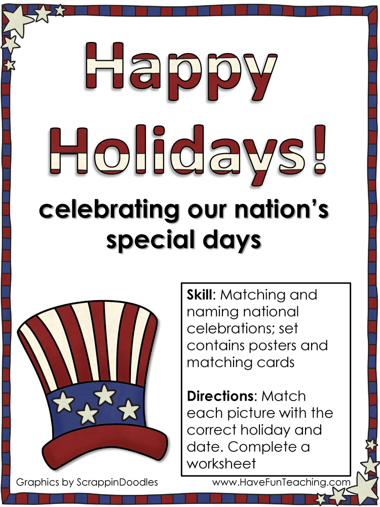 happy holidays national holidays activity
