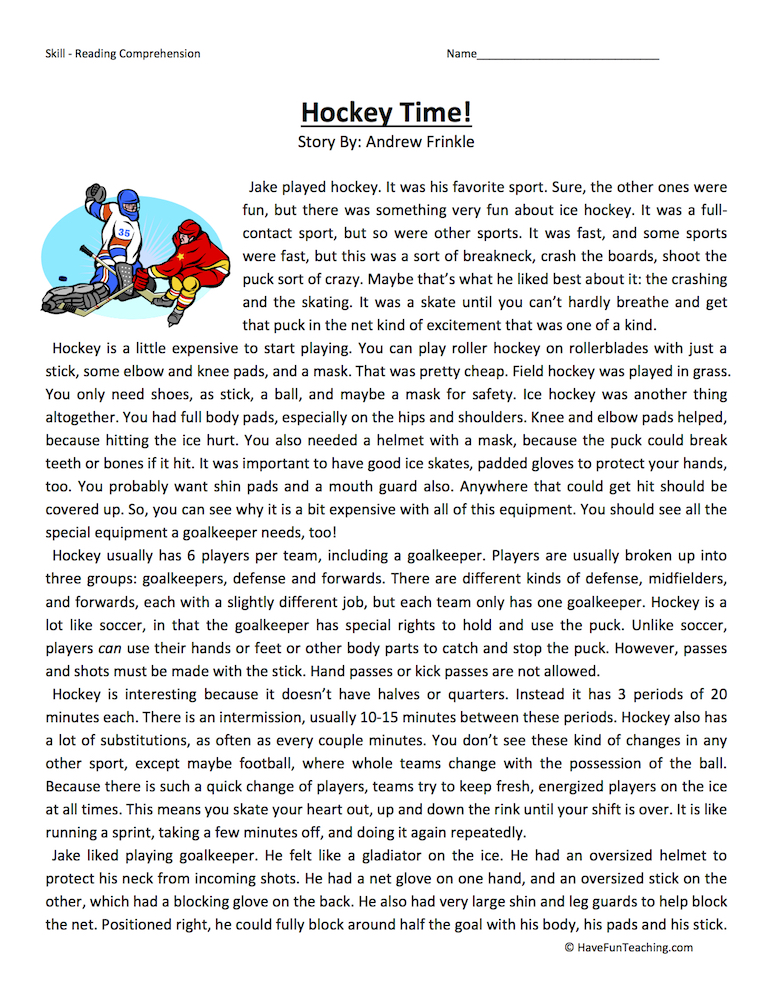 Hockey Time Reading Comprehension Worksheet – High School Reading Comprehension Worksheets