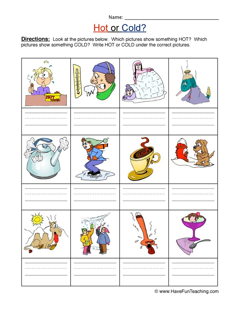 hot cold worksheet 1