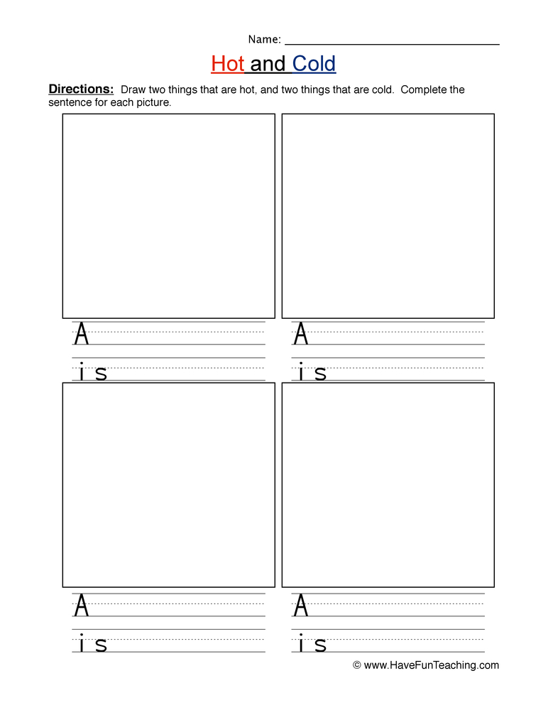 hot cold worksheet 2