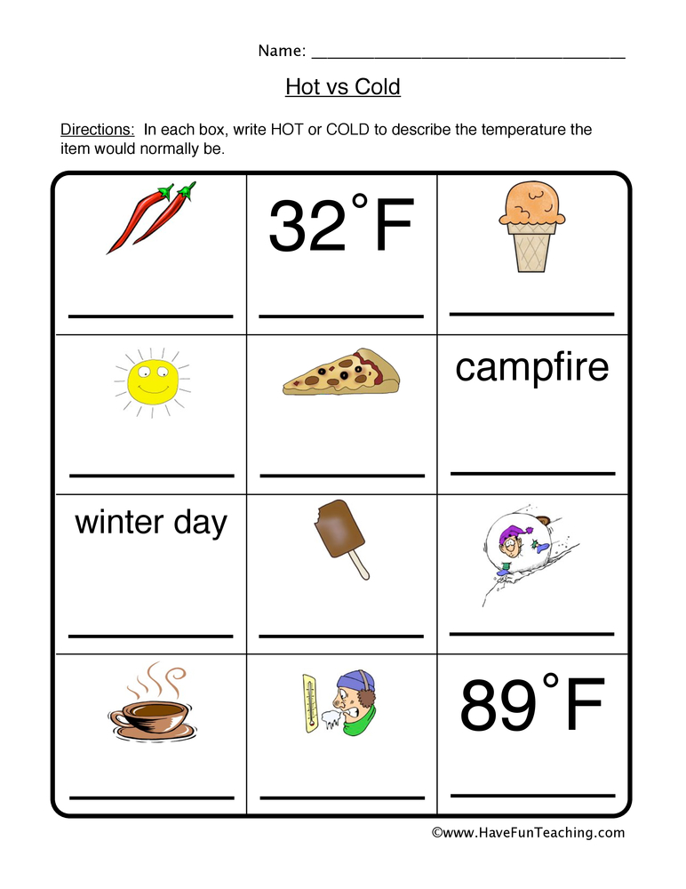 hot cold worksheet