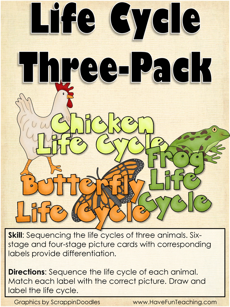 Life Cycle Three Pack Science Life Cycles Activity