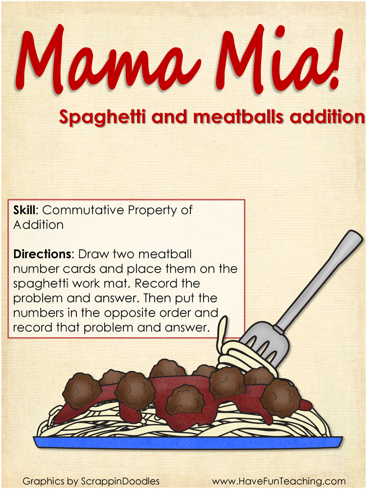 mama mia commutative property addition activity