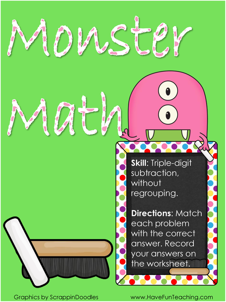 monster math triple digit subtraction activity