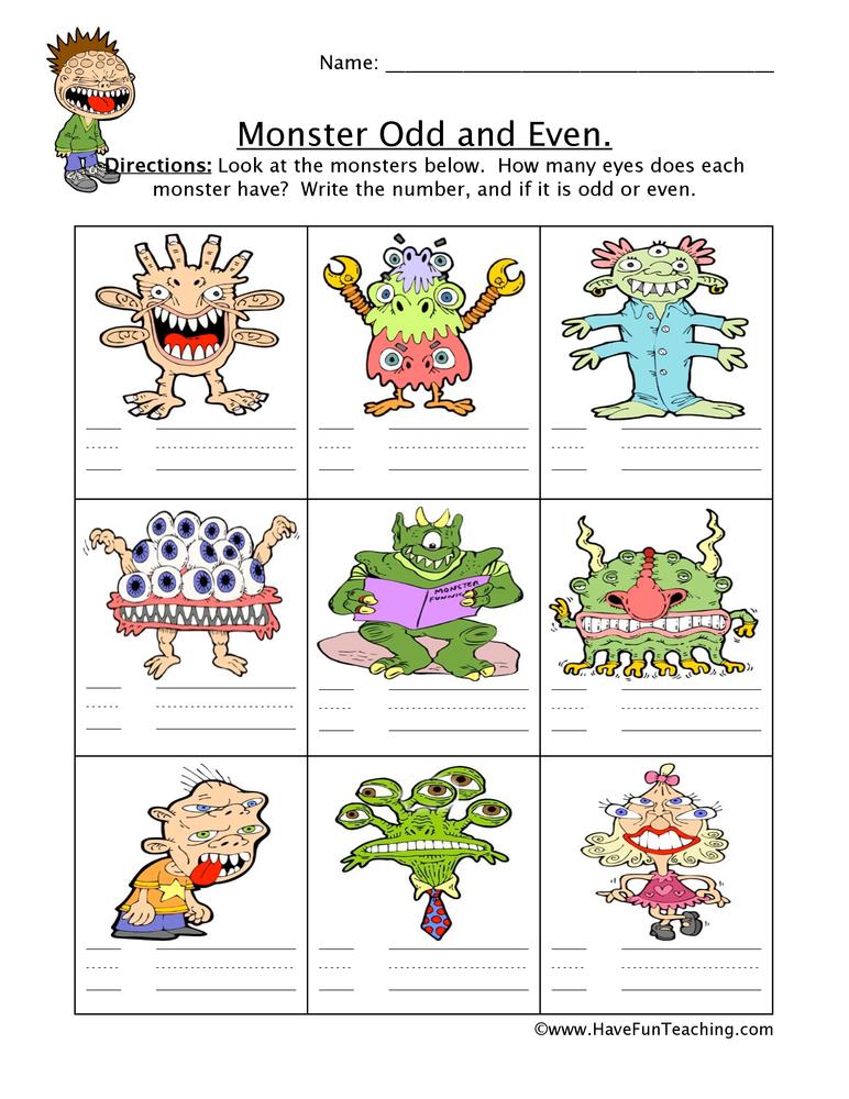 monster odd even worksheet