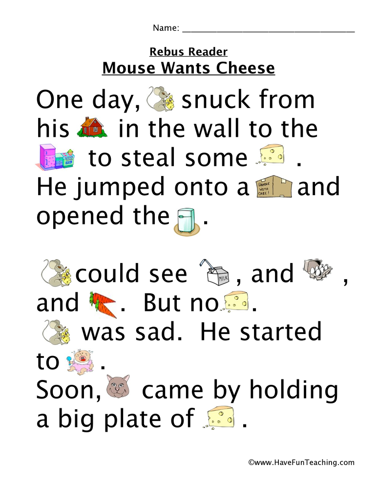 mouse wants cheese rebus worksheet