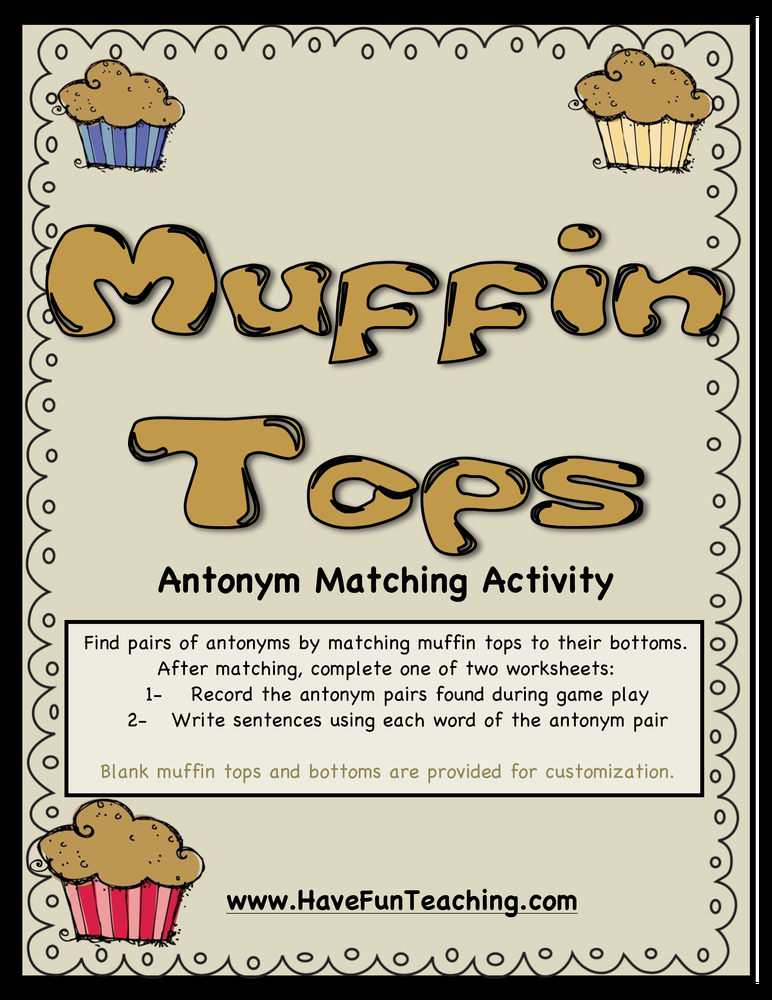 Muffin Tops Antonyms Activity