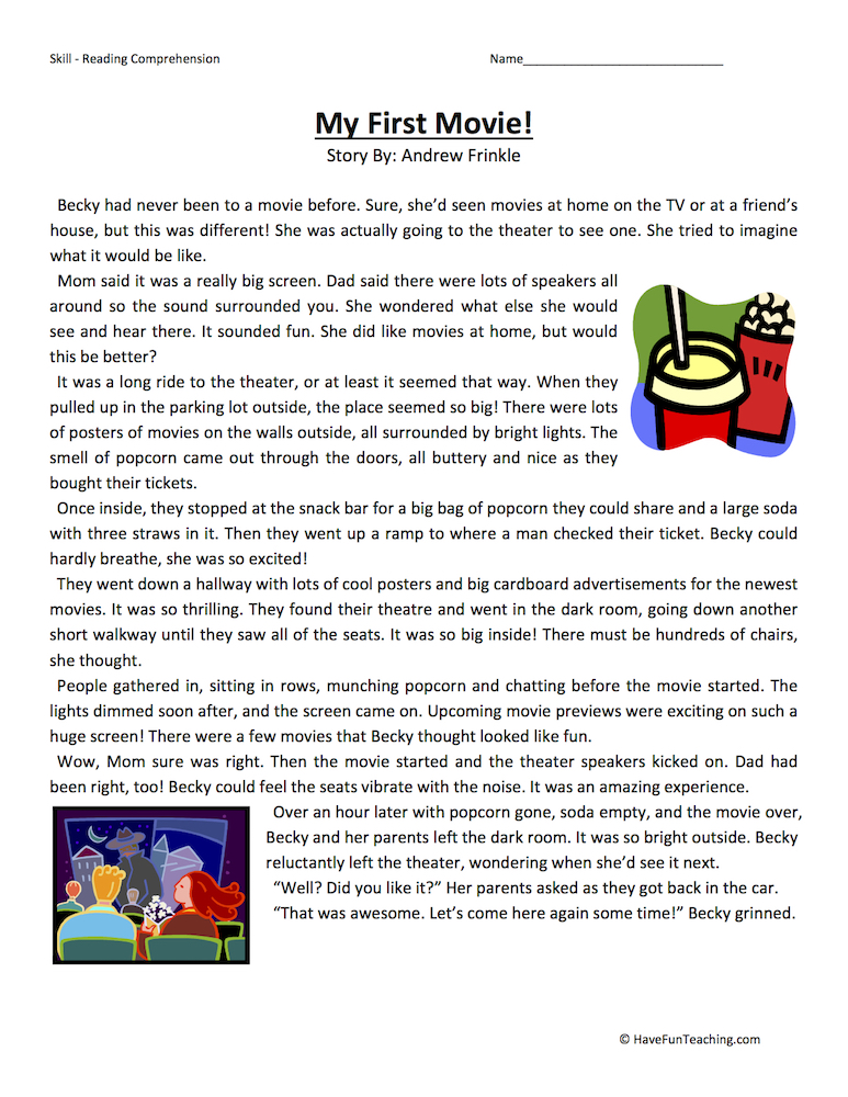 My First Movie Reading Comprehension Worksheet | Have Fun ...