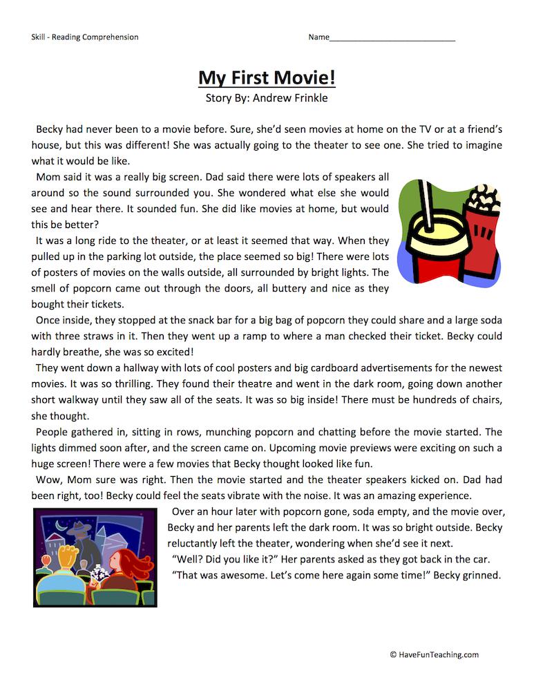 My First Movie Reading Prehension Worksheet