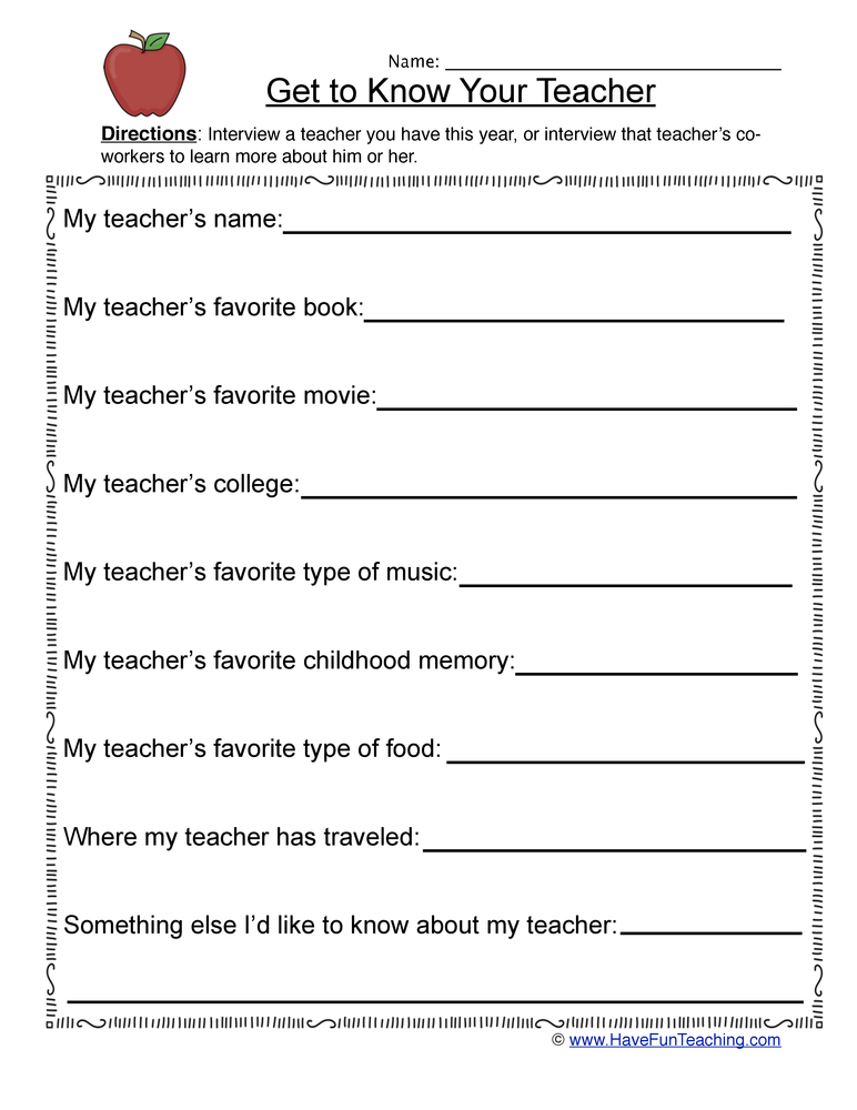 my teacher worksheet