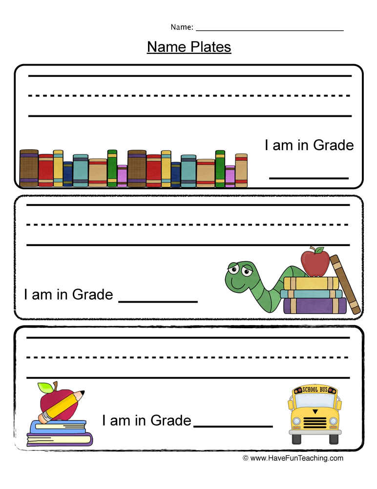 name plates worksheet