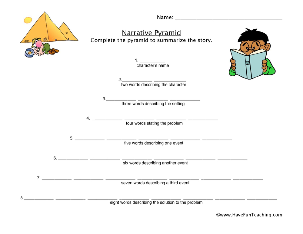 narrative pyramid worksheet