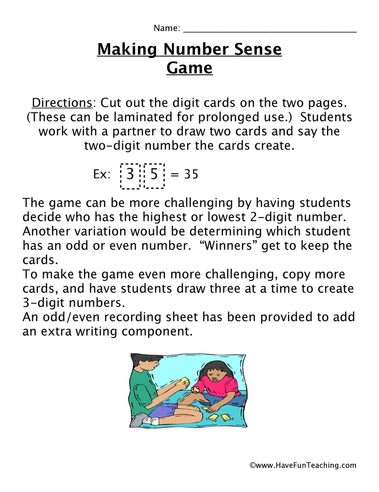 Even and Odd Worksheets - Have Fun Teachingnumber sense game
