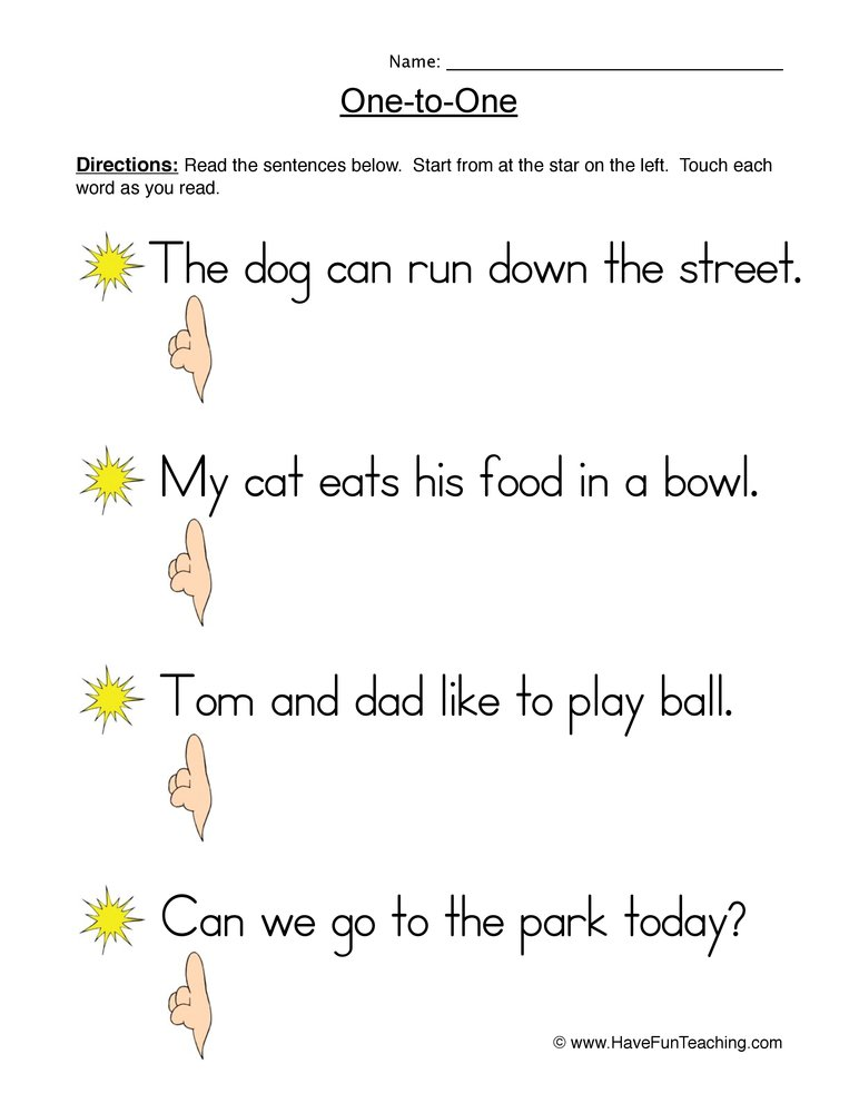 one to one worksheet 1