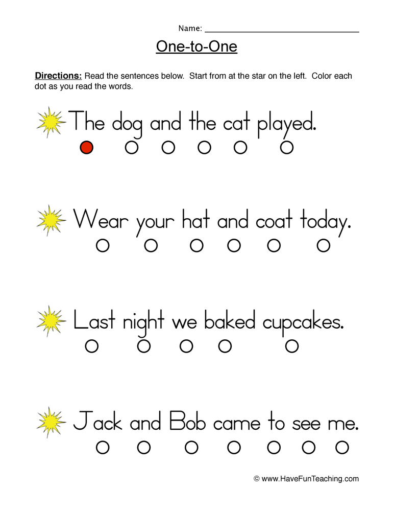 one to one worksheet 8
