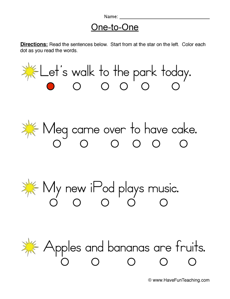 one to one worksheet 9
