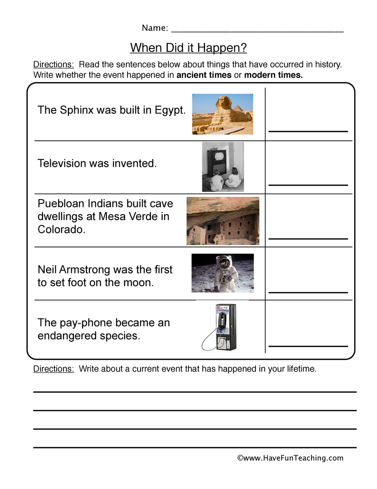 order of events worksheet