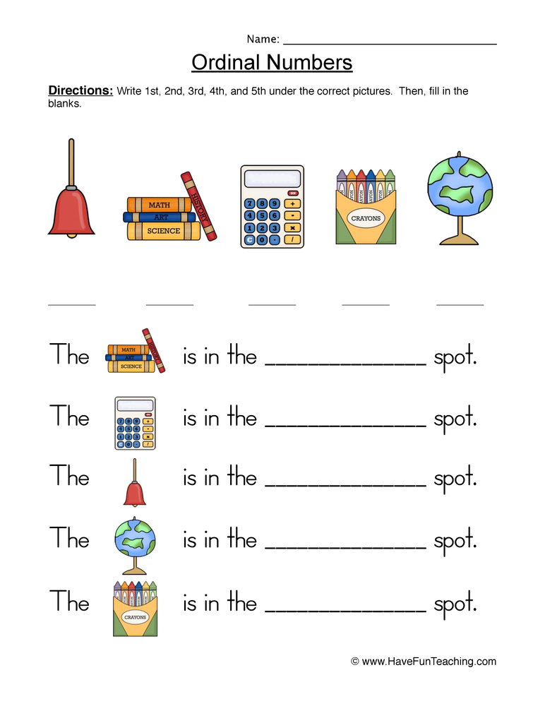 Ordinal Numbers Worksheet 1 Have Fun Teaching
