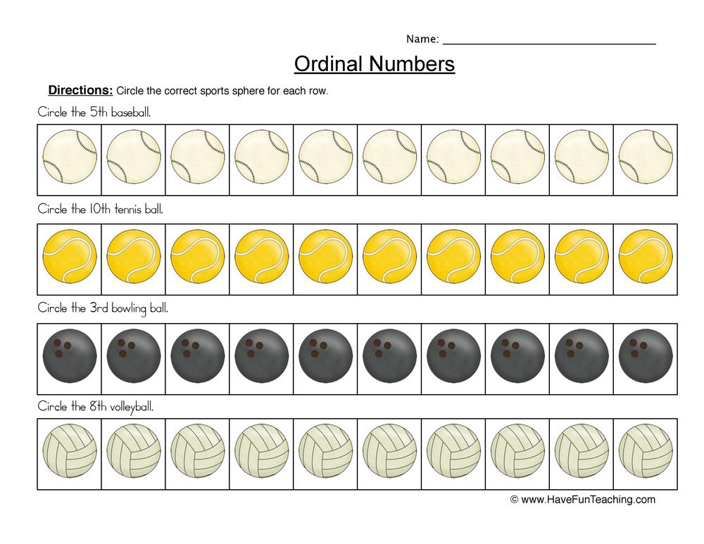 ordinal numbers worksheet 2