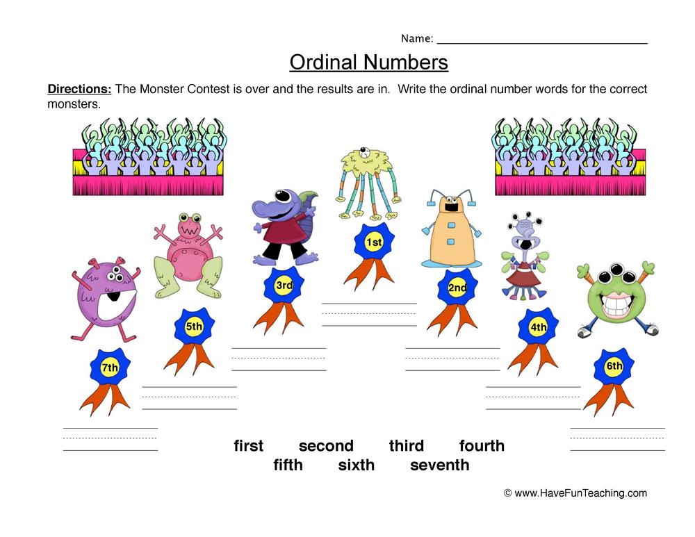 ordinal numbers worksheet 4