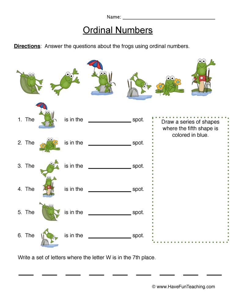 ordinal numbers worksheet 5