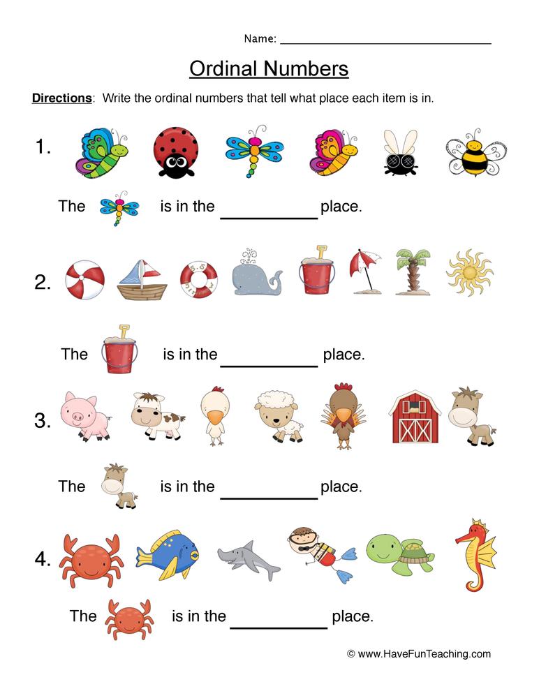 ordinal numbers worksheet 6