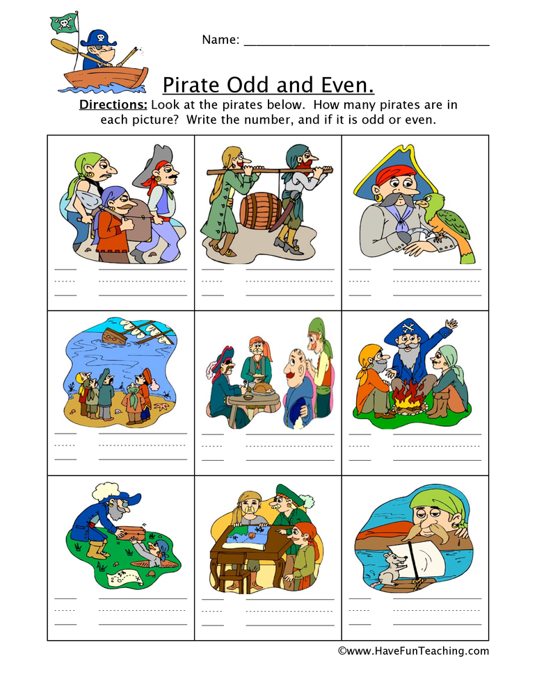 pirate odd even worksheet