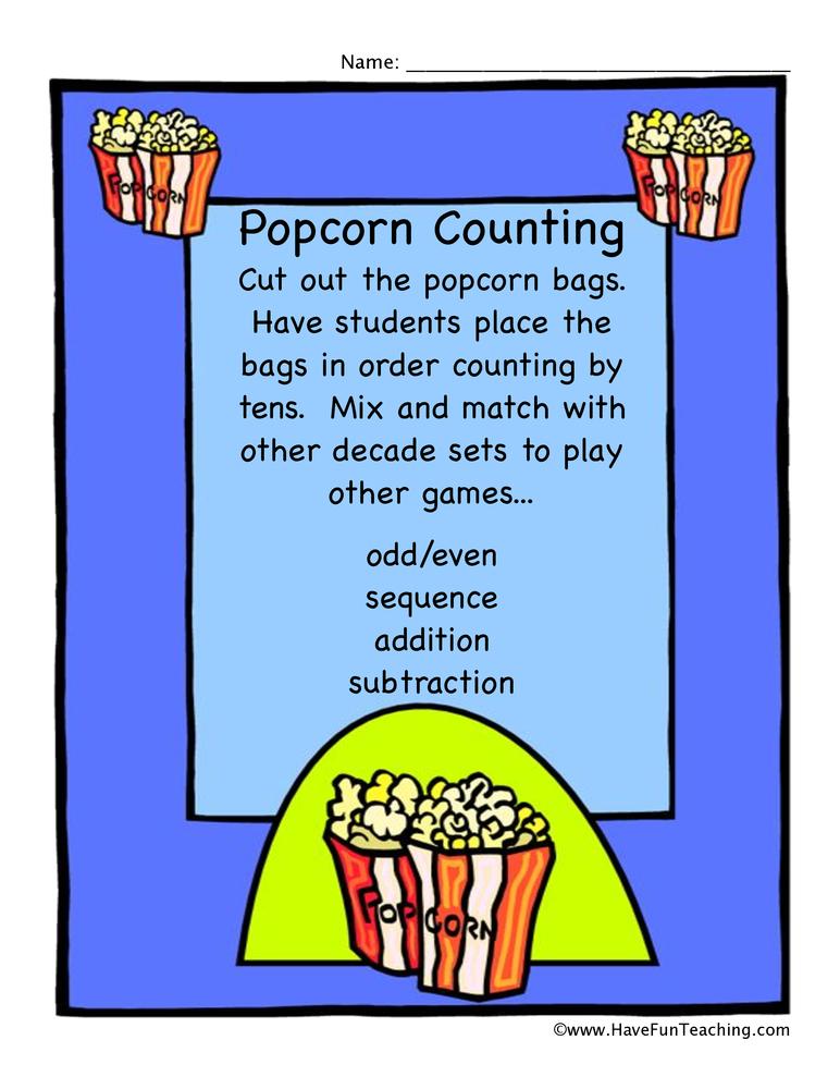 popcorn tens game worksheet