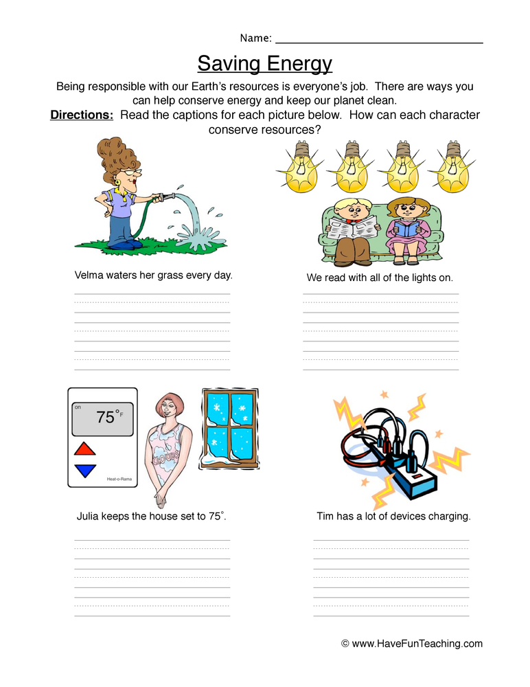 Conserving Resources Worksheet | Have Fun Teaching
