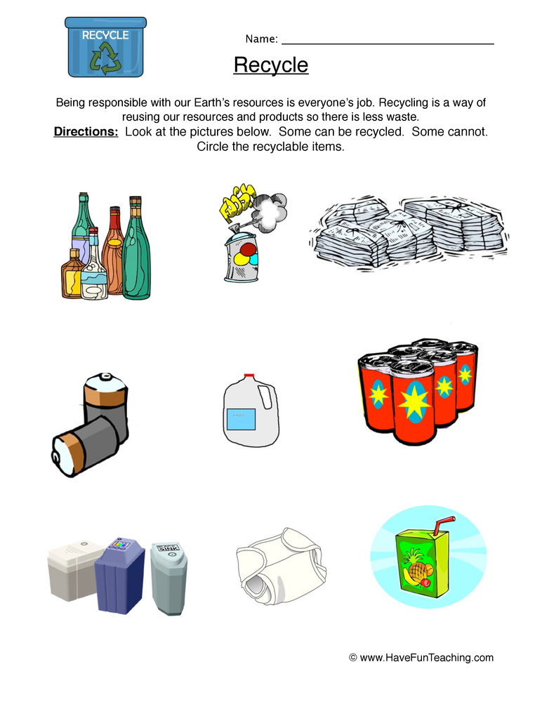 recycle worksheet 2