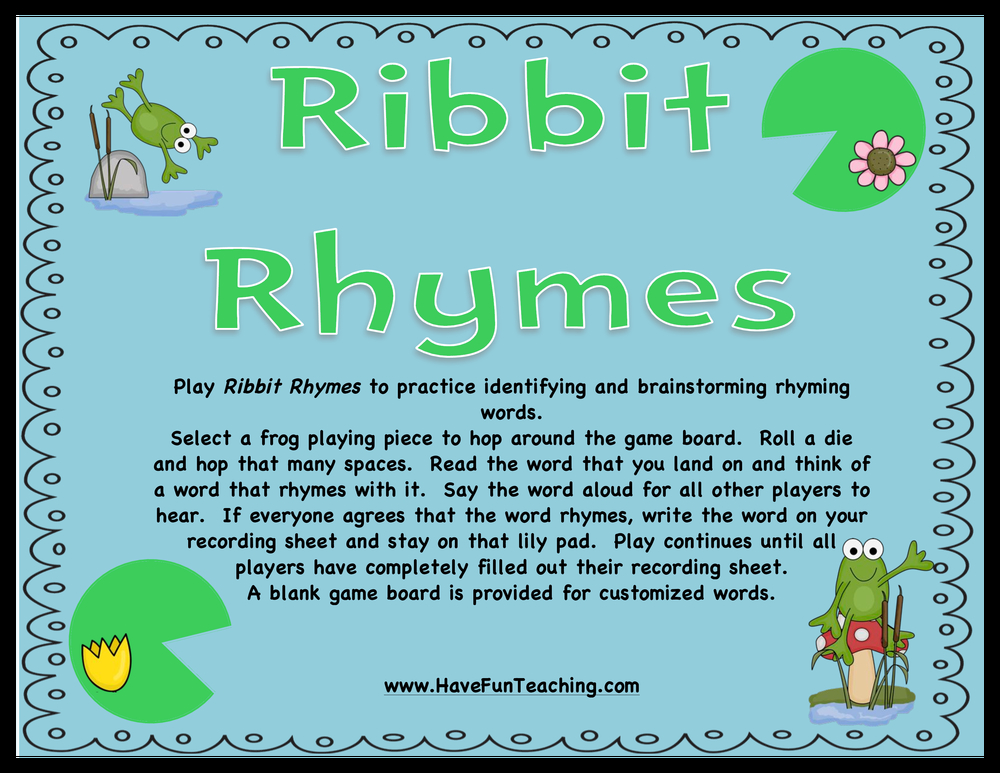ribbit rhymes activity