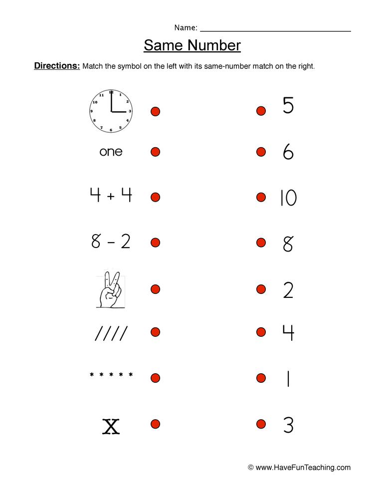 same number worksheet 1