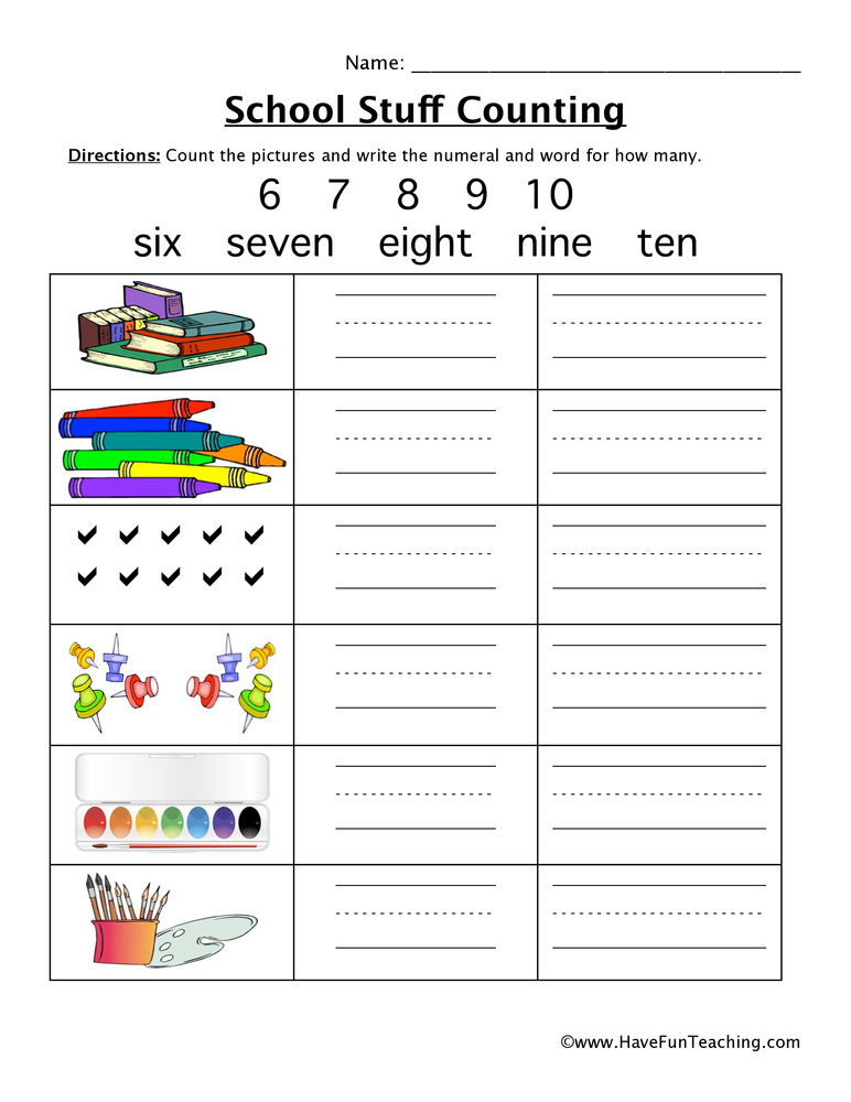 school counting worksheet 2