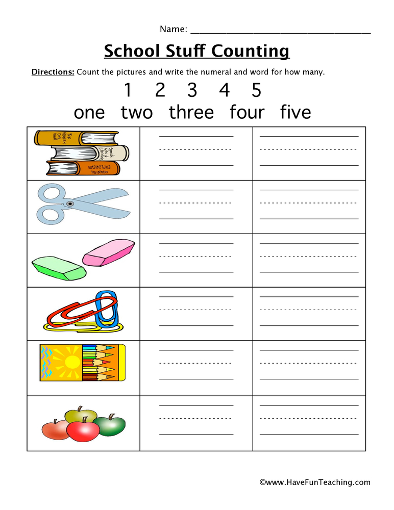 school counting worksheet