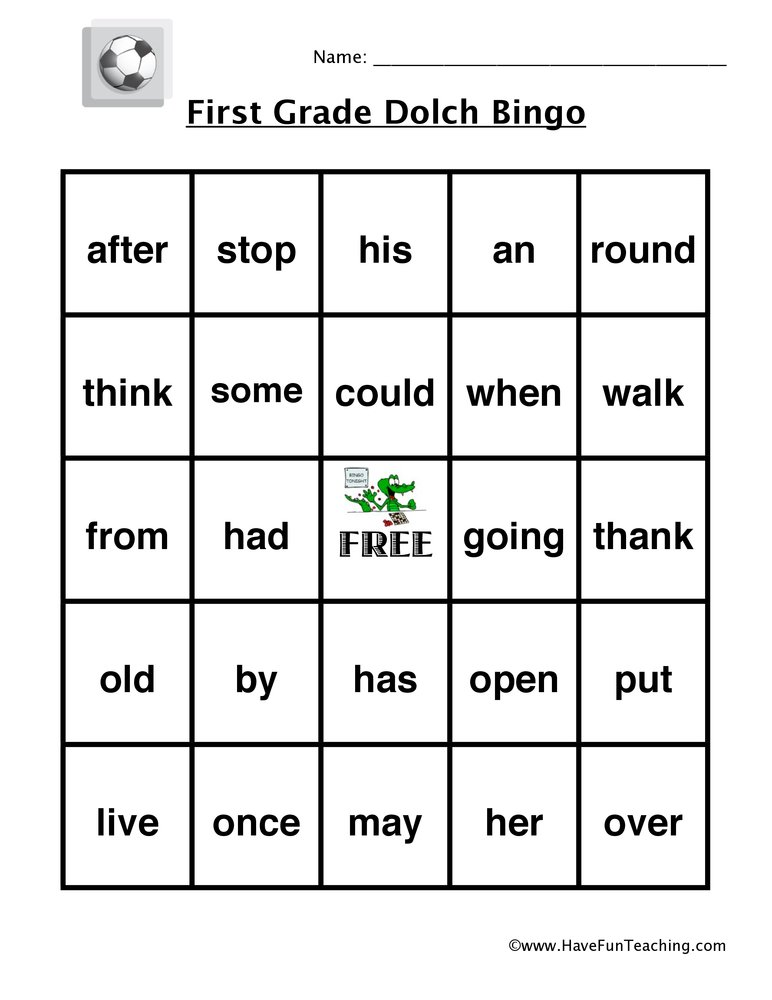 sight word bingo first