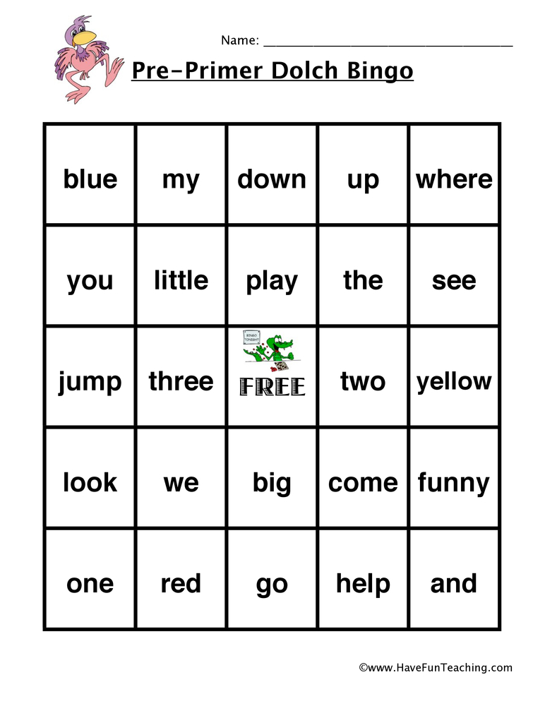 sight words bingo pre primer