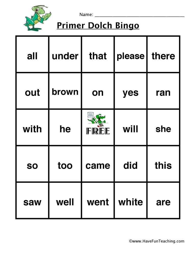 sight word bingo primer