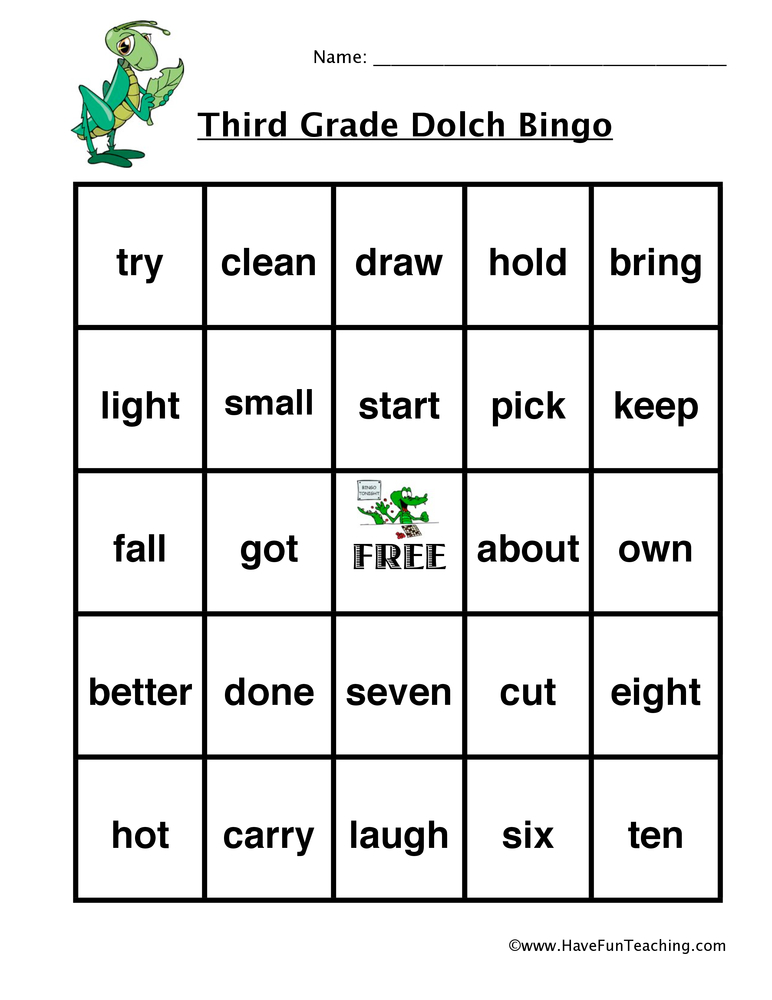 sight word bingo third