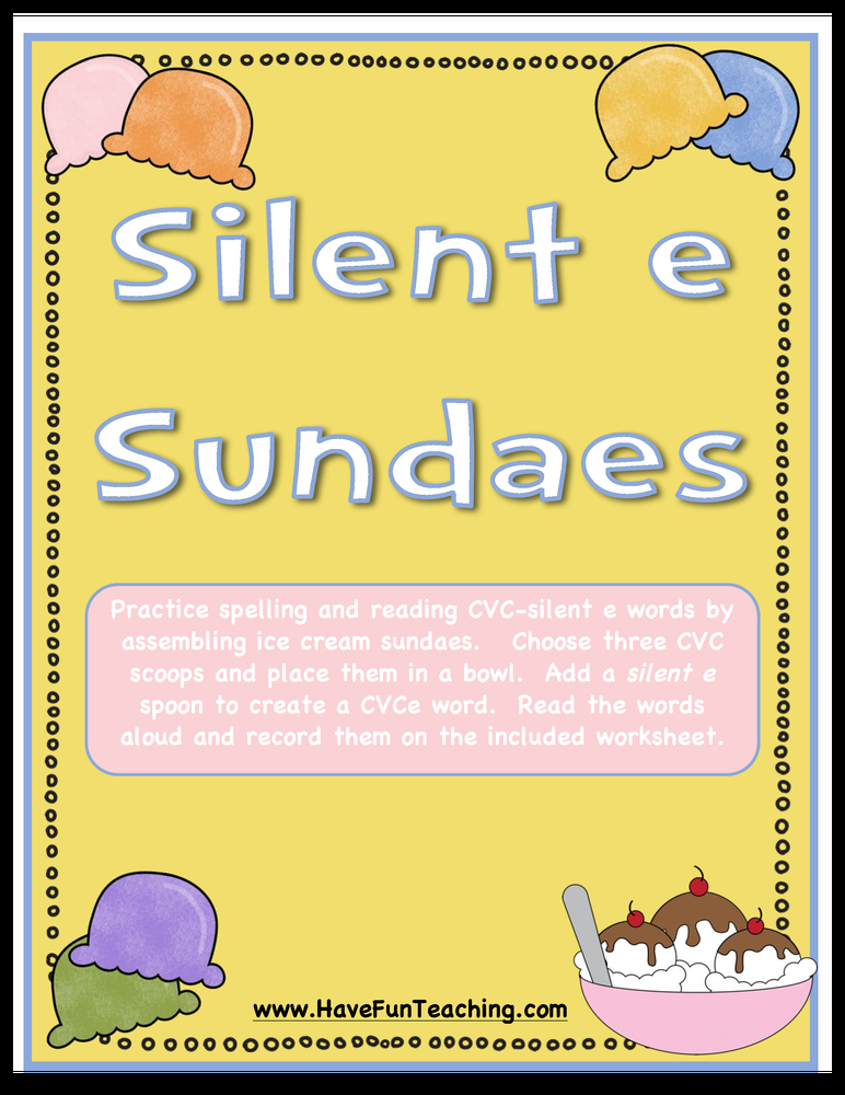 silent e sundaes activity