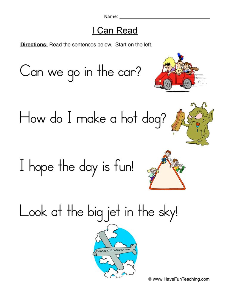 simple sentences worksheet 2
