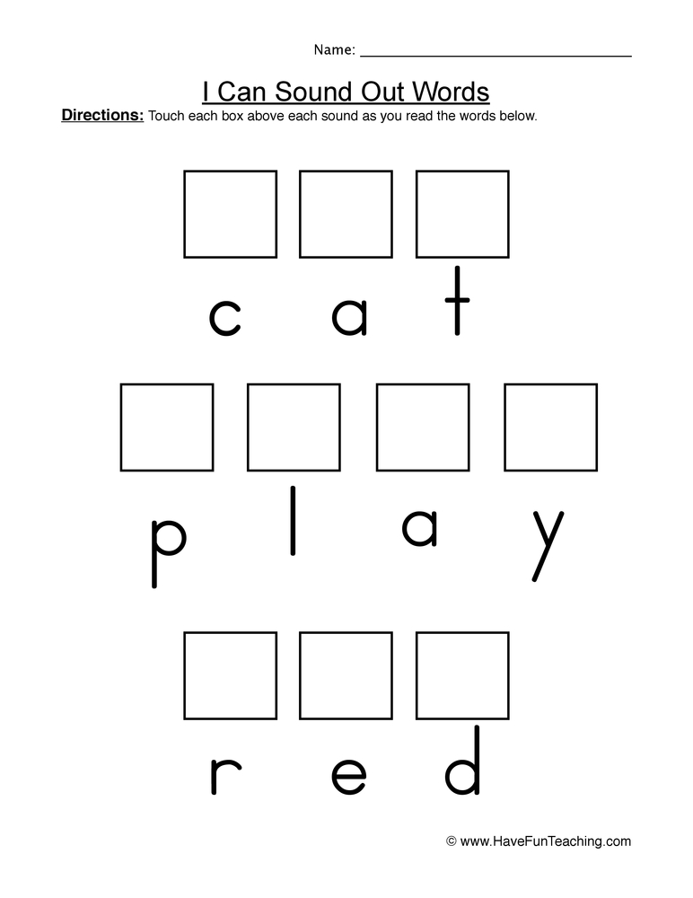 sound out words worksheet 1